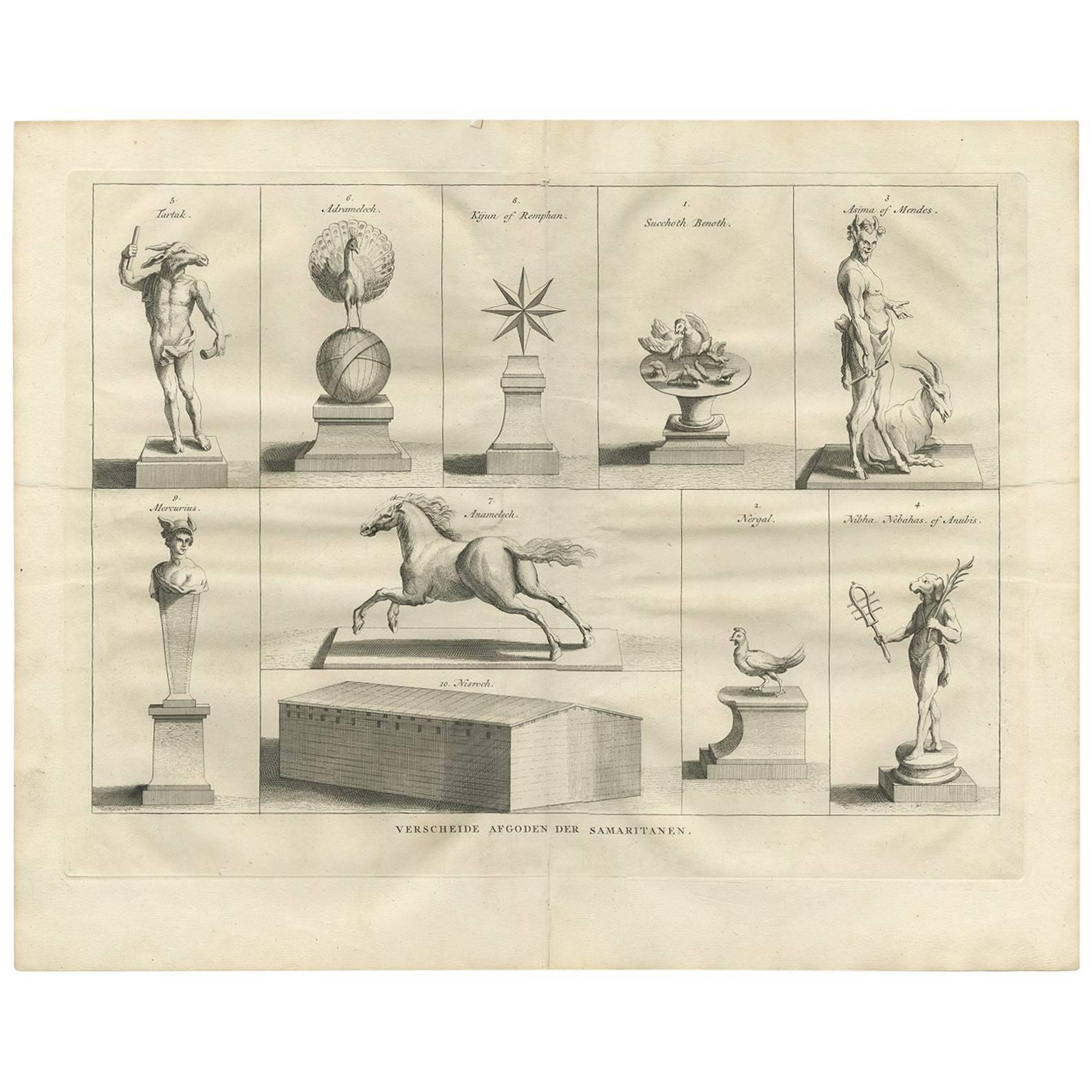 Antique Print of Various Deities of the Samaritans by A. Calmet, 1725