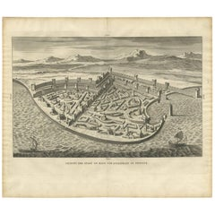 Antique Print of the City and Port of Ptolemais in Phoenicia by A. Calmet, 1725