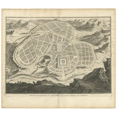 Antique Map of the Ancient City of Jerusalem by A. Calmet, 1725