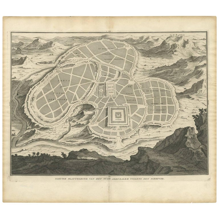 Antique Map of the Ancient City of Jerusalem by A. Calmet, 1725 For Sale