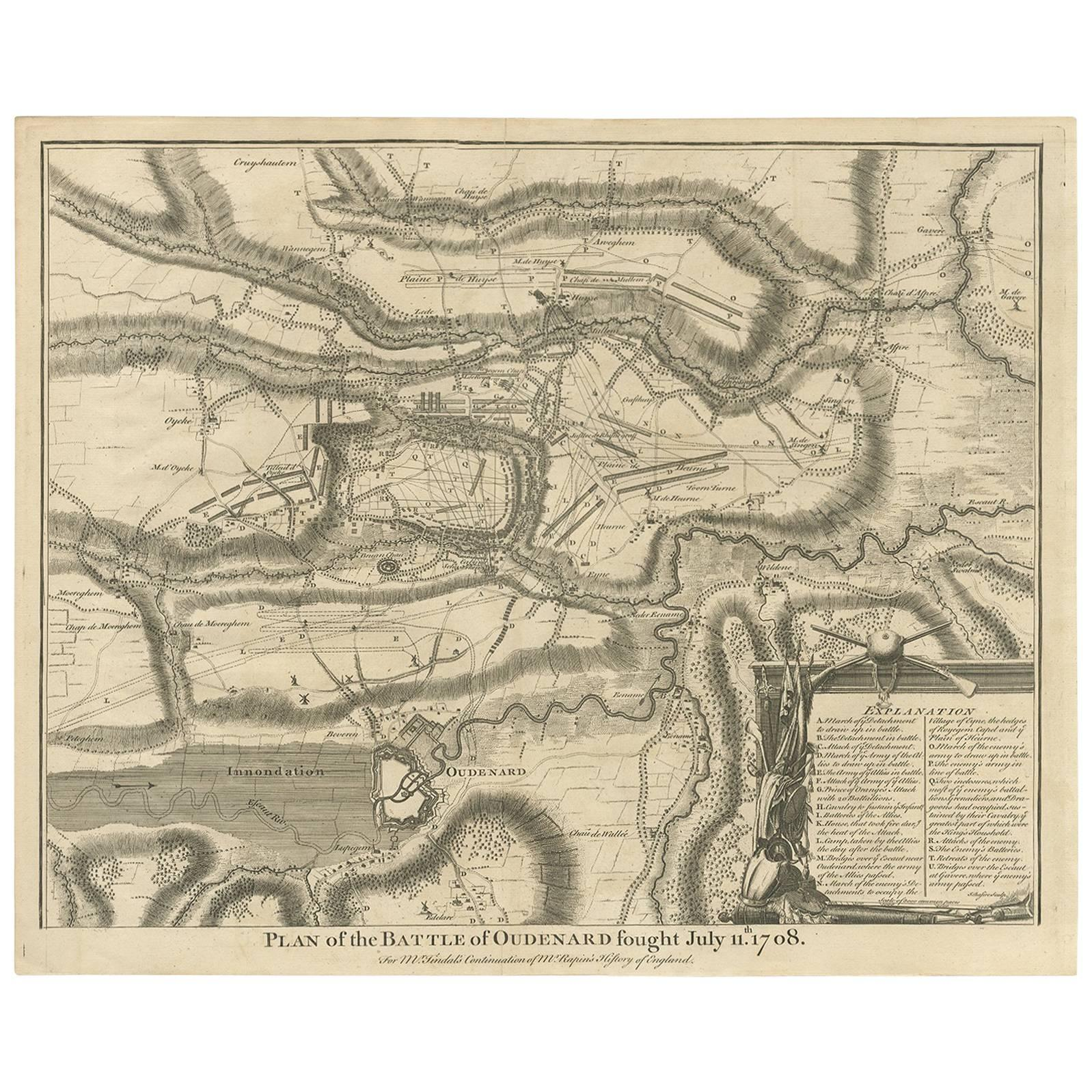 Antique Print of the Battle of Oudenard by I. Basire, 1751