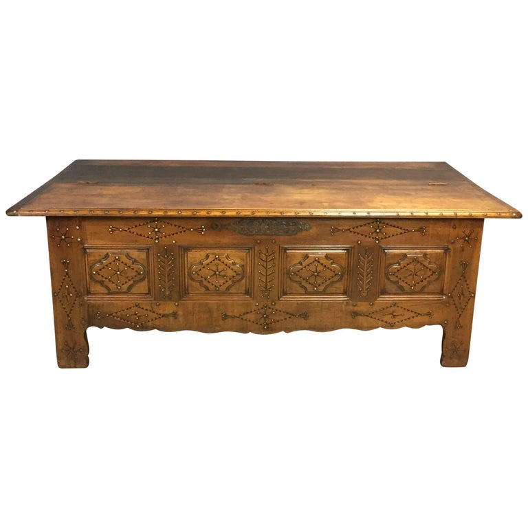 19th Century Rustic Fruitwood Bench Coffer