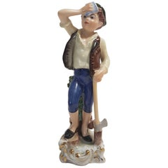 Herend Hand-Painted Hungarian Porcelain Figurine Representing a Woodcutter