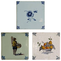 Three Ceramic Delft Wall Tiles Fisherman Fruit Bowl and Flowers, Two 19th C