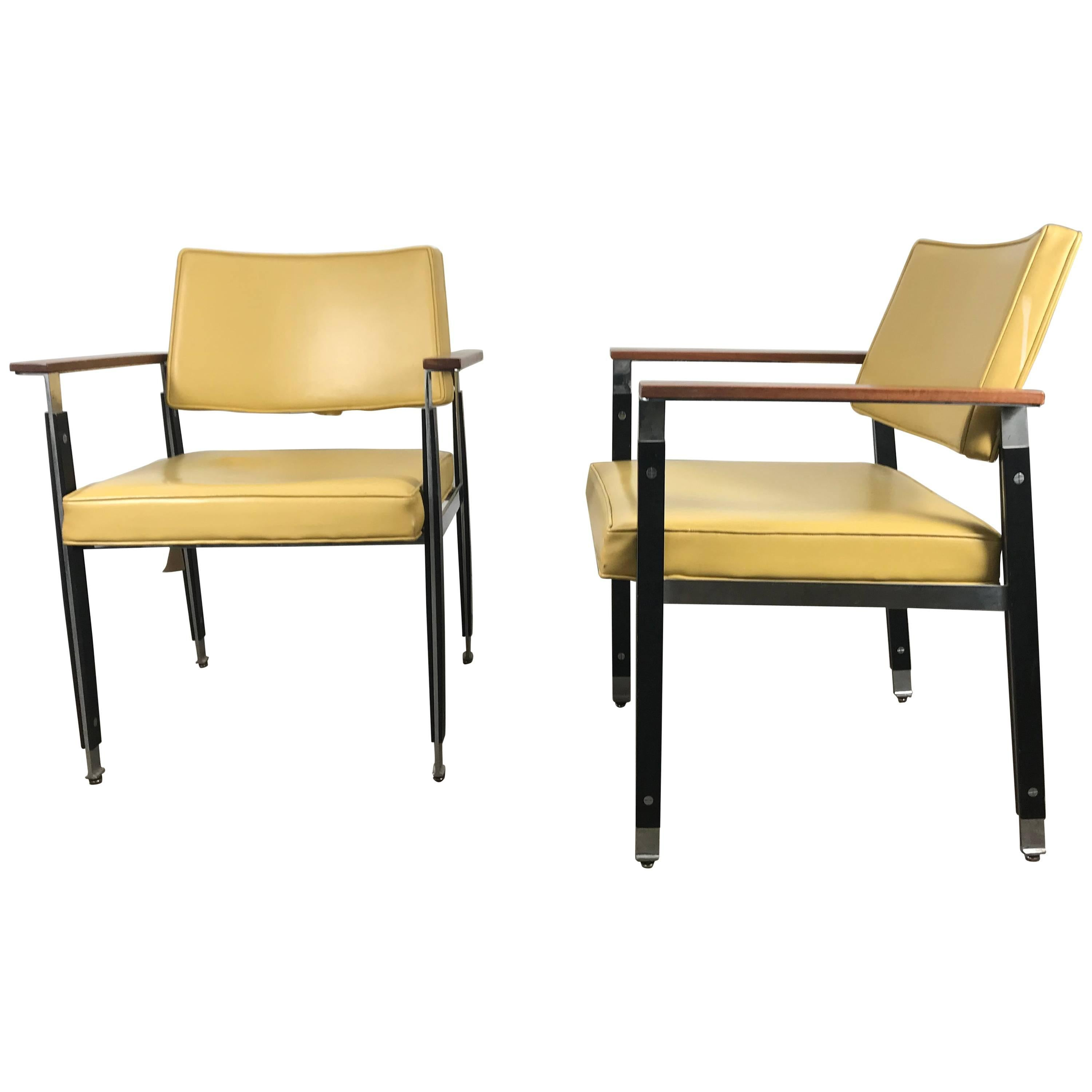 Classic Pair of Modernist Armchairs by Robert John Stainless Steel