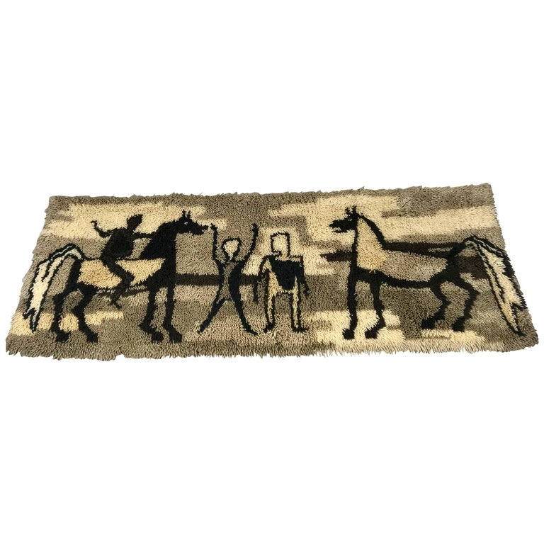 Unusual Rya Rug, Wall Hanging from Ege Taepper of Denmark