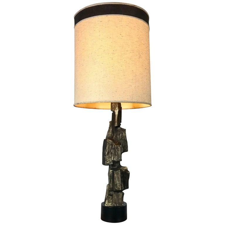 Sculptural Bronze Brutalist Table Lamp, Maurizio Tempestini Laurel