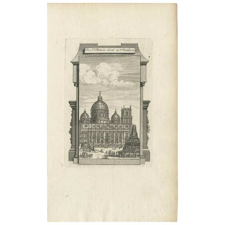 Antique Print of the Exterior of the Papal Basilica of St. Peter, 1779