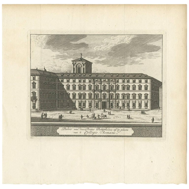 Antique Print of the Palace at Collegio Romano by M. de Bruyn, 1779