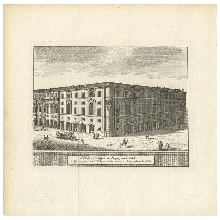 Antique Print of the Palazzo di Propaganda Fide, Rome by M. de Bruyn, 1779