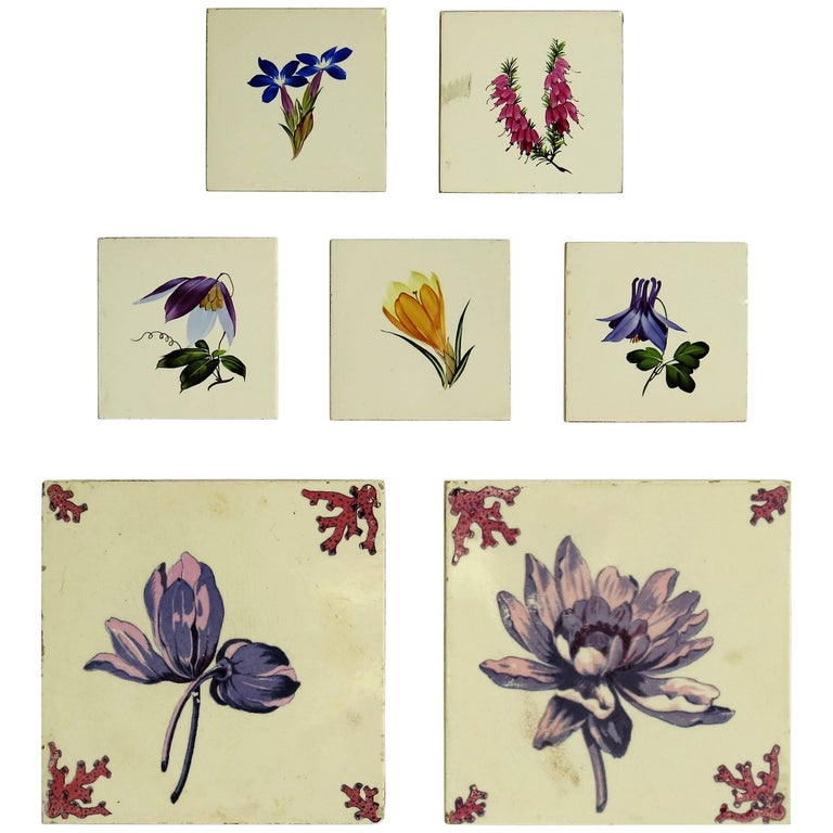 Seven Floral Ceramic Wall Tiles European Hand-Painted, Early / Mid 20th Century