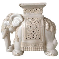 White Midcentury Ceramic Elephant  Side Table, or Planter