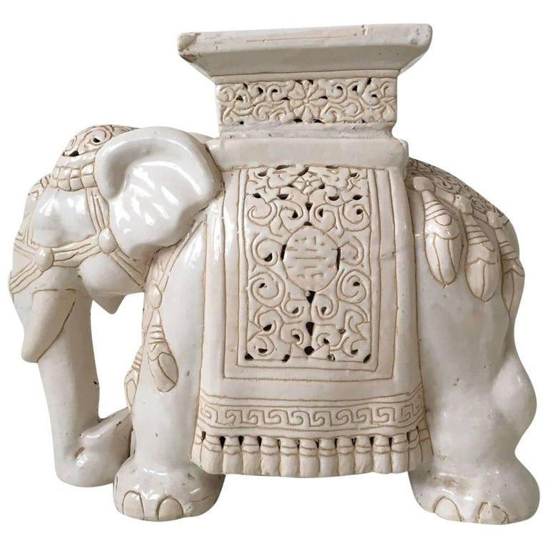 White Midcentury Ceramic Elephant Side Table Or Planter For