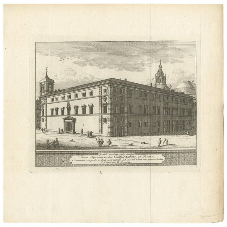 Antique Print of Palazzo Sapienza, Rome by M. De Bruyn, 1779