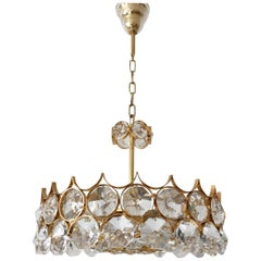 Palwa Gilt Brass Large Facet Cut Crystal Glass Chandelier, 1960s
