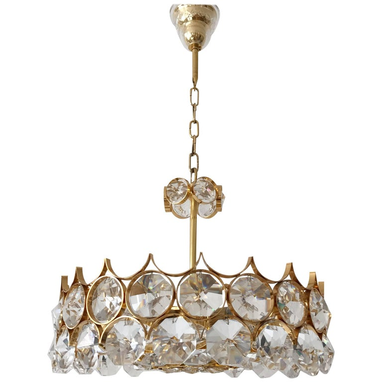 Palwa Gilt Brass Large Facet Cut Crystal Glass Chandelier, 1960s