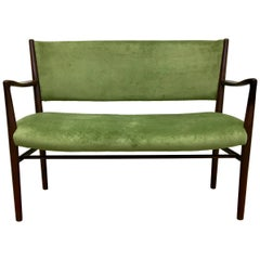 Reupholstered Green Midcentury Two-Seater Bench, 1950s