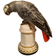 Behscherzer Congo Grey Parrot, German Art Deco Porcelain, circa 1930