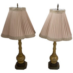 Venetian Glass Painted Glass Table Lamps, Pair