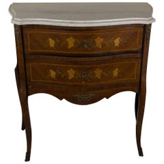 20th Century French Louis XV Style Marquetry Chest with Marble Top