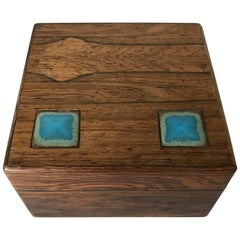 Stunning Midcentury Alfred Klitgaard Wooden Box W. Enamel Inserts by Bodil Eje