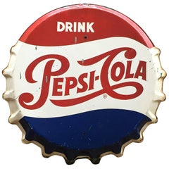 Pepsi Cola Bottle Cap Advertising Sign