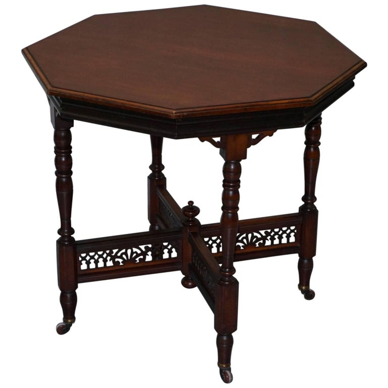 Rare Stamped Mousell Bros Ltd Victorian Mahogany Tea Side End Lamp Wine Table