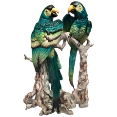 Bavaria German Art Deco Porcelain Couple of Green and Yellow Macaws, circa 1930
