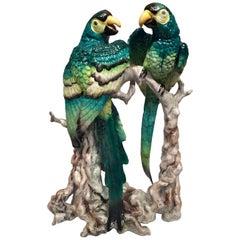 Bavaria German Art Deco Porcelain Couple of Green and Yellow Macaws, circa 1930