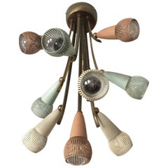 Polychromed Sputnik Chandelier with Ten Arms, 1950s