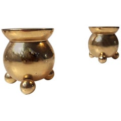 Pair of Vintage Danish 24-Karat Gold-Plated Candlesticks by Hugo Asmussen, 1960s