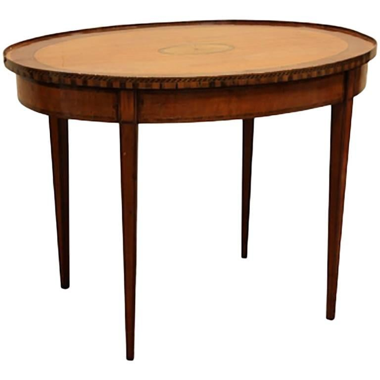 George III Style Inlaid Oval Top Side Table