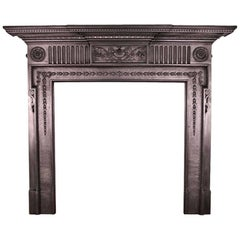 19th Century Victorian Neoclassical Cast Iron Fireplace Surround