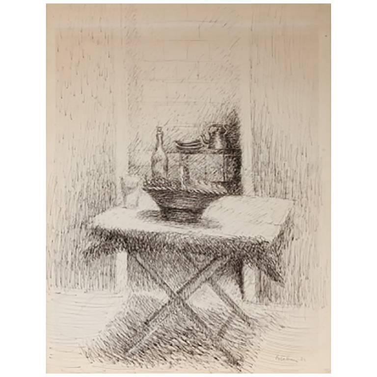 Esteban Vincente Pen and Ink Drawing - Still Life, 1934 For Sale