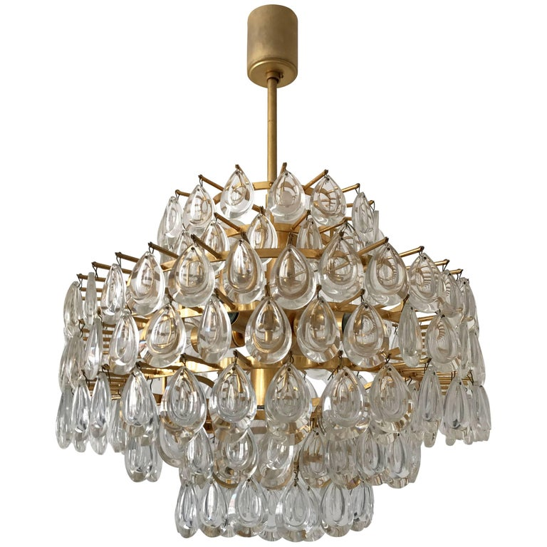 Seven-Tiered Gilt Brass Chandelier by Palwa, Germany, 1960s