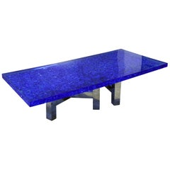 "Blue Lucite and Murano Glass Table Nickel-Plated Brass Base ""Riflessioni"""