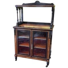 Late Victorian Amboyna and Ebonized Music Cabinet