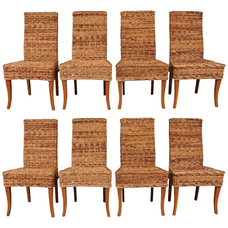 Set of Eight Woven Sisal Dining Side Chairs