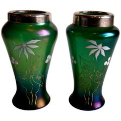 Pair of Art Nouveau Kralik Silver Topped Enamelled Vases