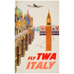 Original Vintage Travel Poster by David Klein, Fly Twa Italy, Featuring Venice