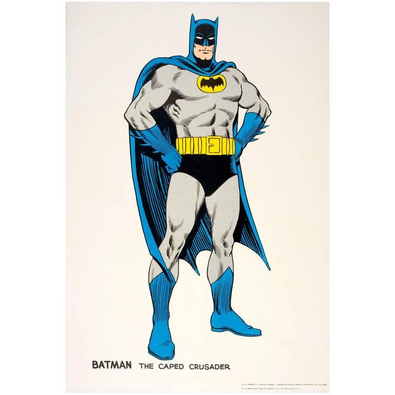 Original Vintage Comic Book Superhero Poster Featuring Batman The Caped Crusader