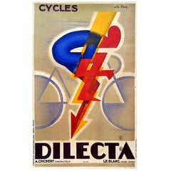 Original Vintage Art Deco Cycling Poster by G. Favre for Cycles Dilecta Bicycles