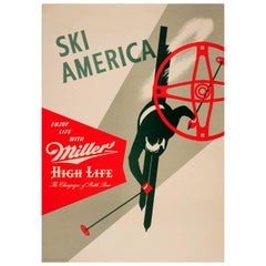 Original Drink Poster Ski America Enjoy Life Miller The Champagne of Bottle Beer
