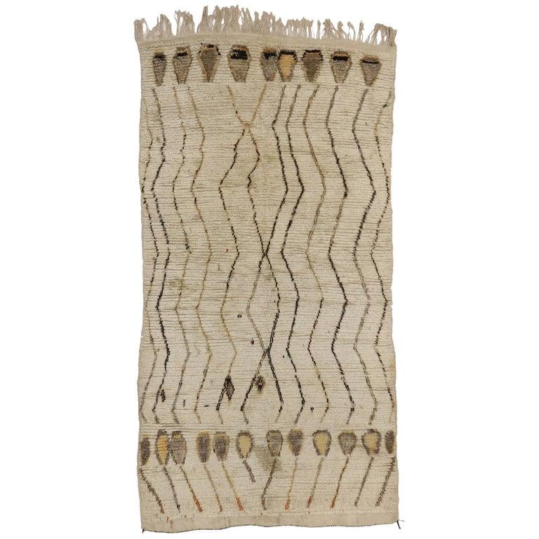 Vintage Berber Moroccan Rug, Neutral Color Moroccan Rug For Sale