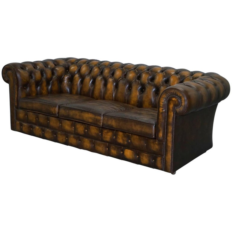 Substantial Hand Dyed Aged Brown Leather Chesterfield Sofa Bed From Mill Rook For