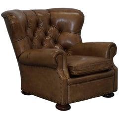 Original Ralph Lauren Writer's Aged Vintage Brown Heritage Leather Armchair