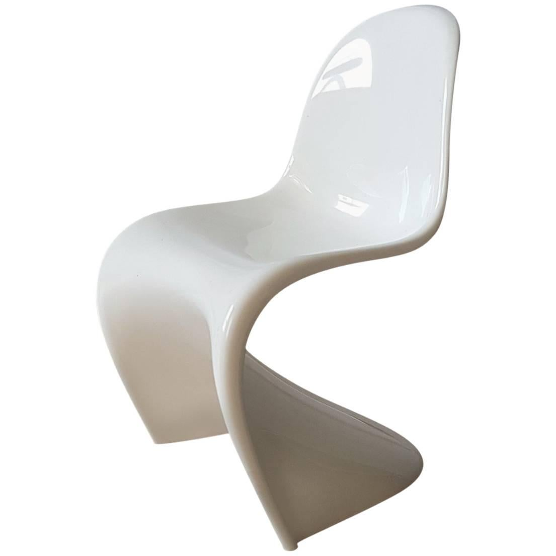 White Miniature Of Panton Chair By Verner Panton Mid Century Modern For  Vitra For Sale