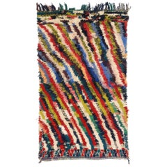 Colorful Abstract Vintage Moroccan Boucherouite Rug, Inspired by Bridget Riley