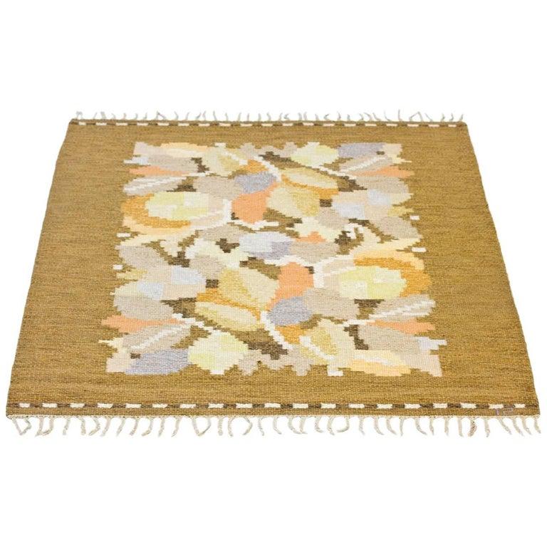 Swedish Handwoven Wool Carpet Rölakan Flat-Weave by Ingegerd Silow, 1950s