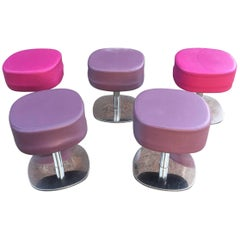 Set of Five Stools in Chromed Metal and Leatherette, circa 1970